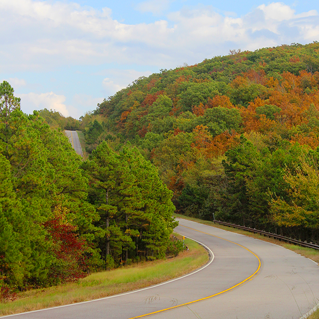 Which is where you'll find the Talimena Scenic Drive -  a 50-mile scenic drive that traverses the mountains and offers picturesque views.
