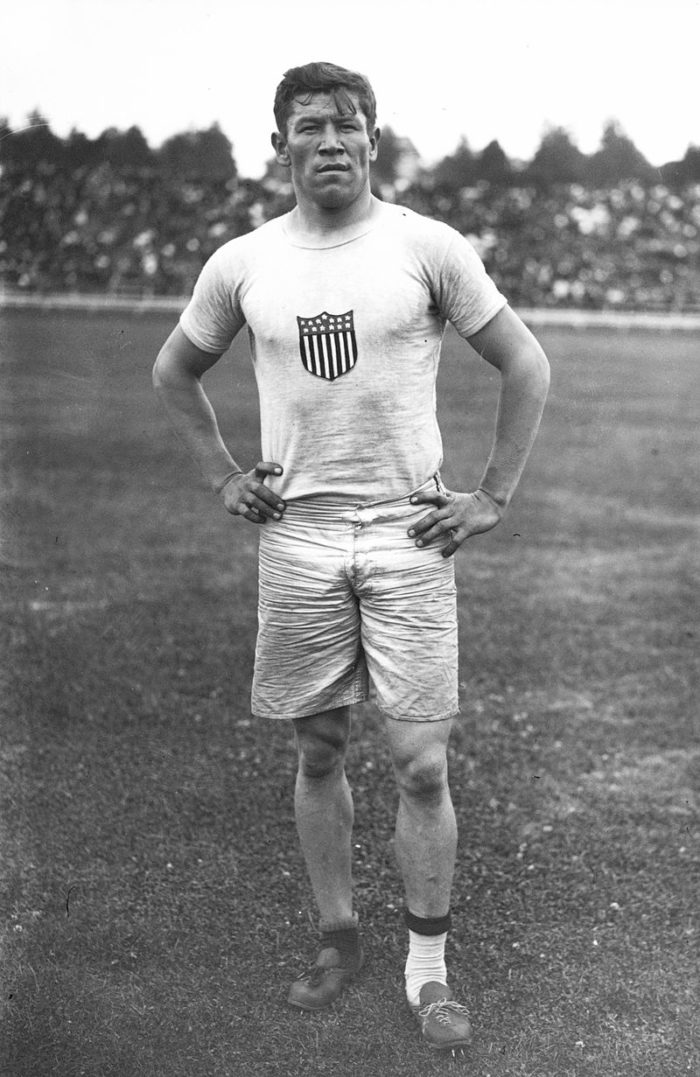 Pictured below is Thorpe at the 1912 Summer Olympics. Right before he was to compete in the Olympics, Thorpe's shoes were stolen. He found some shoes in a waste basket and competed in these mismatched shoes and socks.