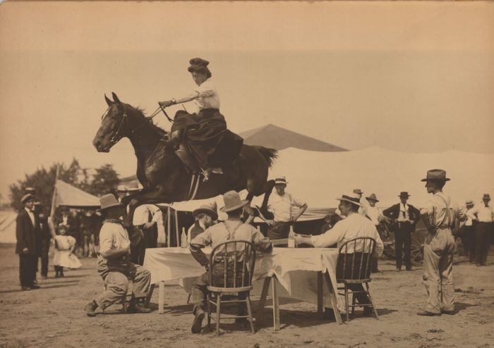 15. Mabel Hackney Tompkins performing at a Wild West Show (Ponca City) with her horse Sky Rocket in 1907.