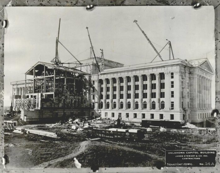3. The construction of the Oklahoma Capitol Building, 1916. This 6-story structure was built on land donated by William F. Harn and John J. Culbertson.