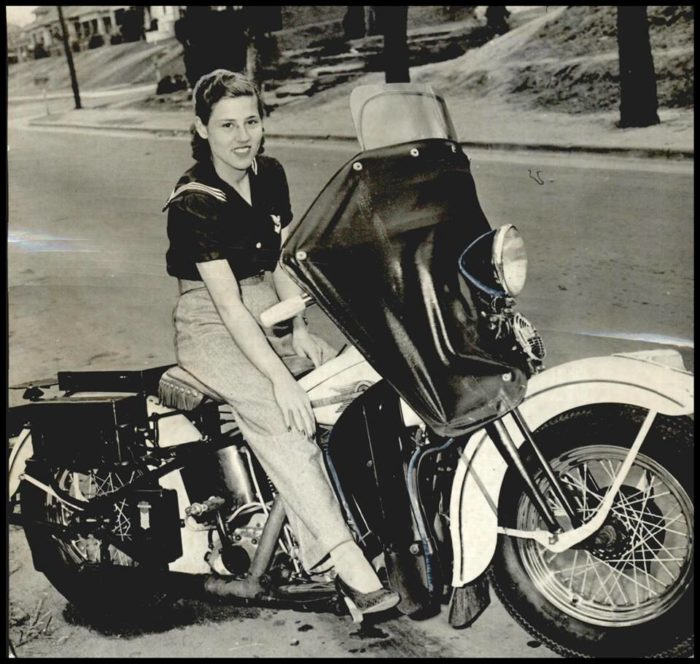 """2. Mildred Goodson, 22-year-old motorcycle """"delivery girl"""" – March 20, 1941. Check out the shoes!"""