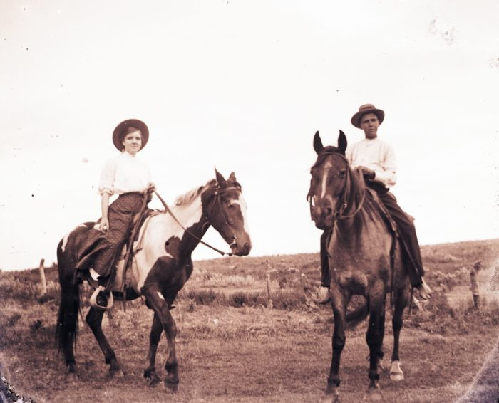 13. Horseback riding, 1900.
