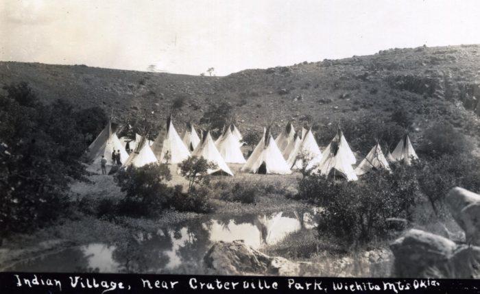 "14. ""Indian Village, near Craterville Park, Wichita Mountains, Oklahoma"" - date unknown."