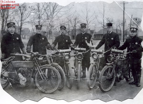 7. Six Oklahoma City police officers with motorcycles, 1912.