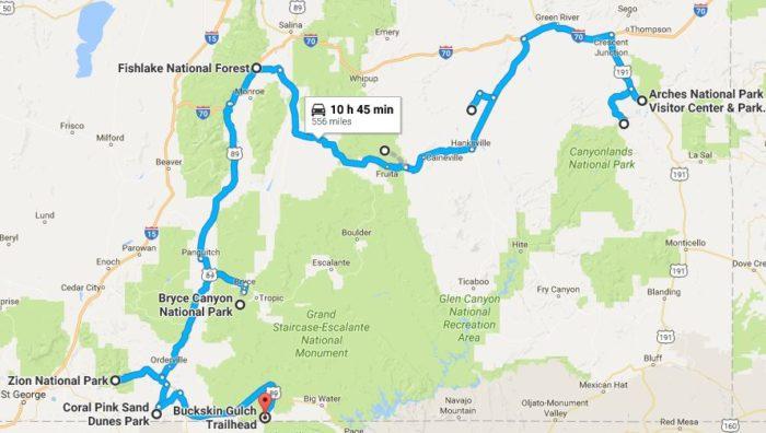 Natural Wonders In Utah Road Trip Map - Utah road map