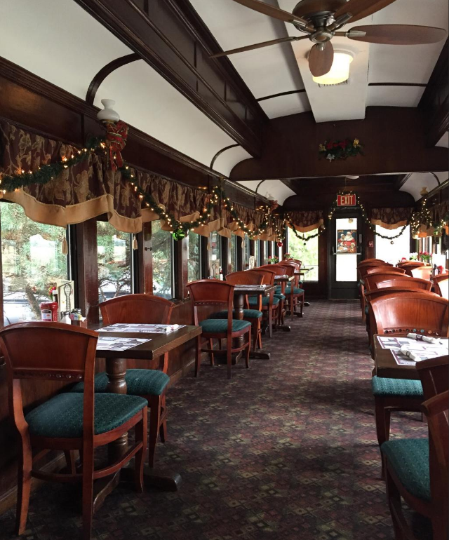 dine in this restored vintage train car in new jersey. Black Bedroom Furniture Sets. Home Design Ideas