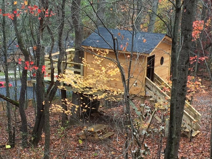 At the Buffalo Trail campground, you can spend the night in a treehouse.