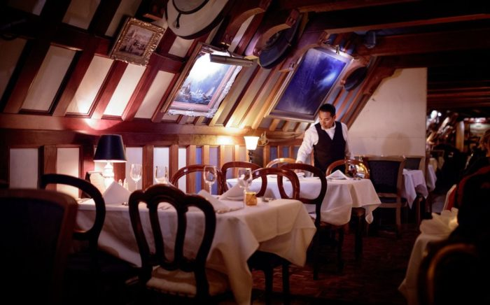 Inside, the restaurant is decorated like an old sailing ship. You can even dine underwater if you choose.