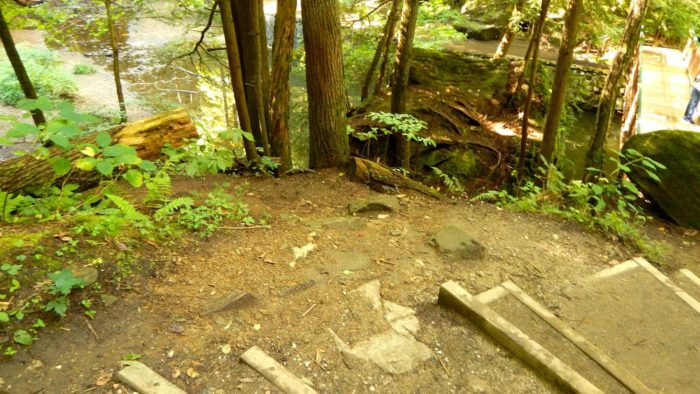 A beaten path off the dirt staircase (to the left) leads the way to the waterfall.