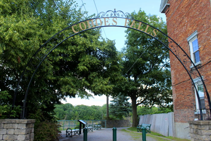 Take the left at the corner and walk until you reach the Cohoes Falls archway!