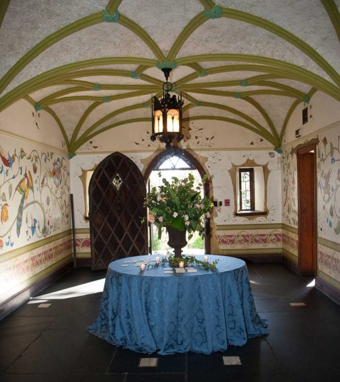 A step inside this grand structure reveals intricately painted murals and archways fit for a princess.