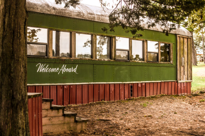 """The 80-foot train, Rebel Hill Express, welcomes visitors with a friendly, """"Welcome Aboard!"""""""
