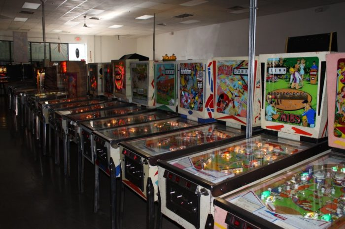 The games range from 1950s through 1990s pinball machines.