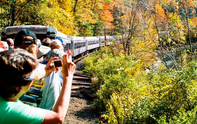 Head back to the open air gondola, where you can snap photos of the passing fall foliage, once the conductor gives passengers permission to move around the train.