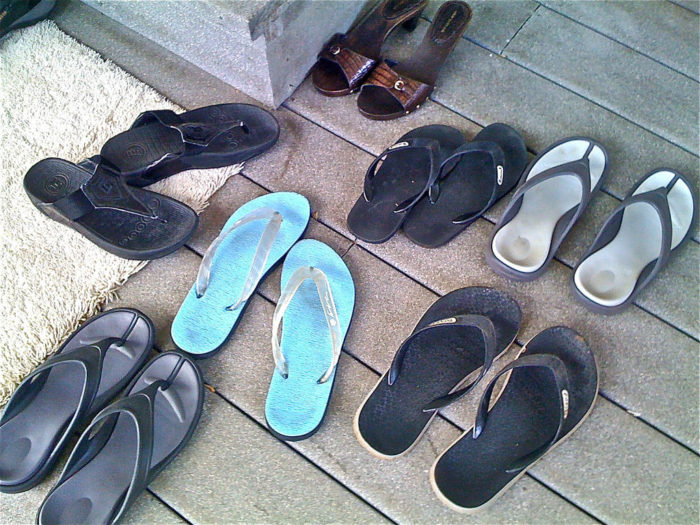 10. Wearing shoes inside your host's home.