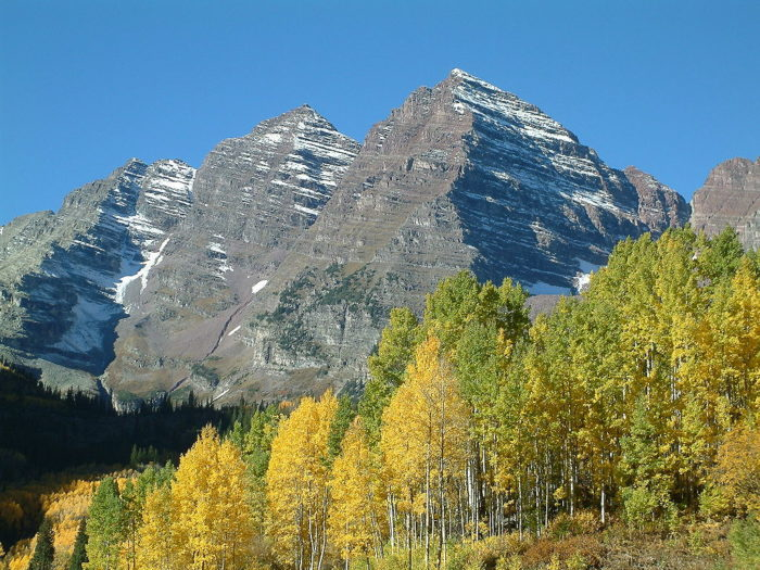 Made up of two peaks within the Elk Mountains, the famous Maroon Bells are located within the Maroon Bells-Snowmass Wilderness of White River National Forest just outside of Aspen.