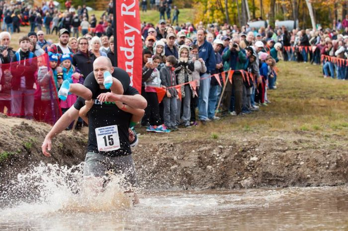 The North American Wife Carrying Championship is, arguably, the best part of Sunday River's annual Fall Festival.