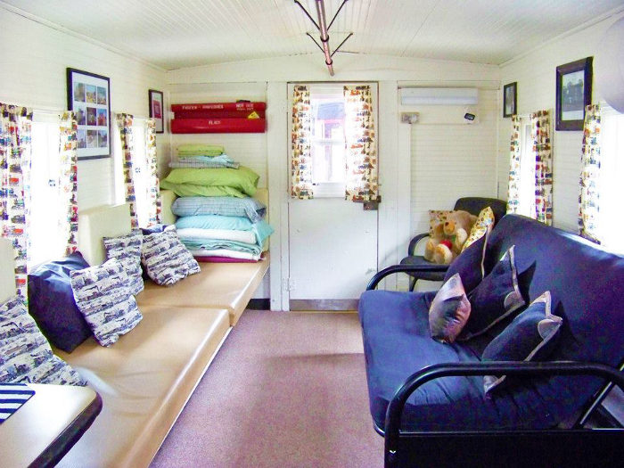 The caboose has everything you need for camping with up to 6 people.