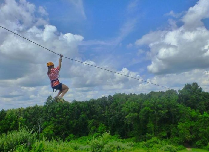 It includes five different zip lines, ranging from 200 to 650 feet long.