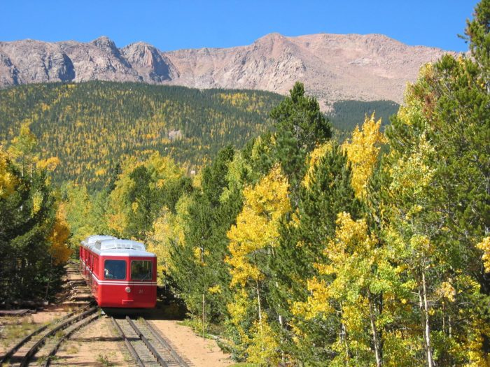 The Pikes Peak Cog Railway trip takes you 8.1 miles up to the peak. It's a 3 hour and 10 minute trip.