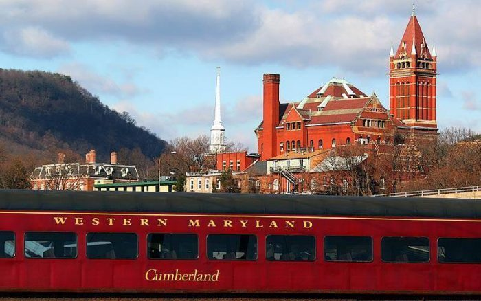 The Western Maryland Scenic Railroad takes you on a 2 1/2 hour ride leaving from Cumberland.