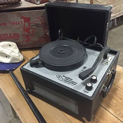 Audiophiles will go nuts over the vintage record players and records on hand.