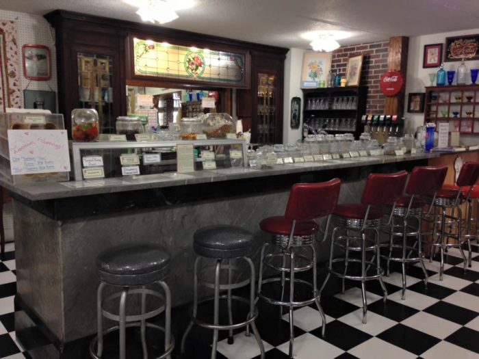 At the Suwannee Valley Shoppes, you can pull up a stool at an adorable soda fountain and sip a root beer float.