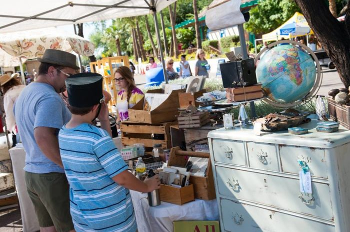 You'll find vendors selling vintage items that are at least 20-years-old (dating to the 1990s now), antiques, and handmade items.