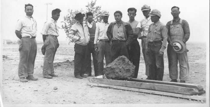 Japanese Americans interred in California were hired to build a new camp near Delta. The workers built the barracks and strung the barbed wire fence inside which they and their families would live for as long as three years.