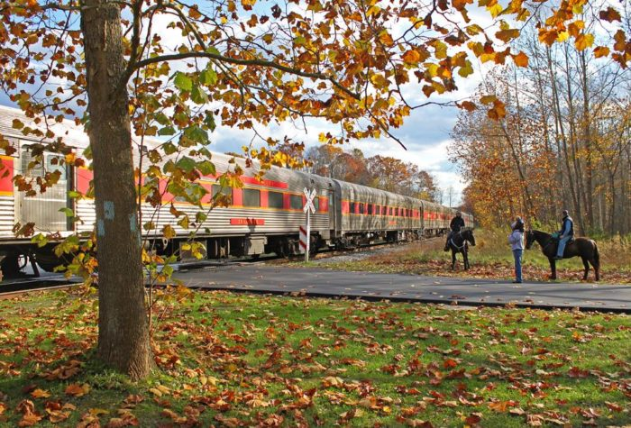 Fall foliage train ride in ohio at the cuyahoga valley scenic railroad
