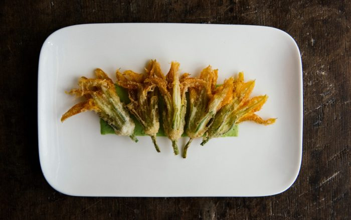 These fried squash blossoms are just one example of the innovative food found here.