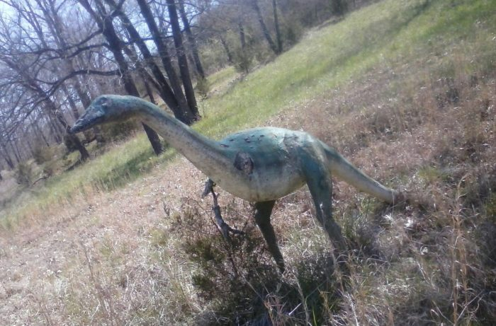 . . . there are dinosaurs everywhere at this abandoned theme park.