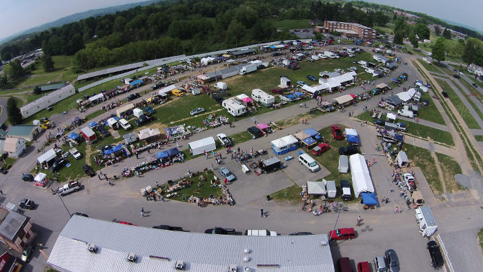 "Twice a year, the fairgrounds has a ""Giant Flea Market & Antique Show."""
