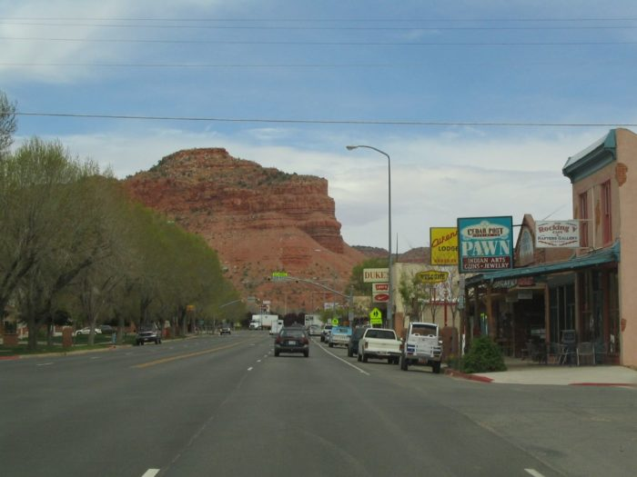 Downtown Kanab is set against the stunning red rock beauty of Utah's desert landscape.