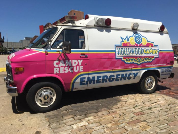 Before you go in, you might be lucky enough to get a look at the Candy Rescue ambulance.