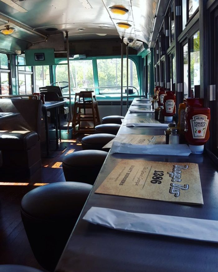 But to even up the cool factor ever more, you can actually eat inside the old trolley for a one-of-a-kind dining experience.