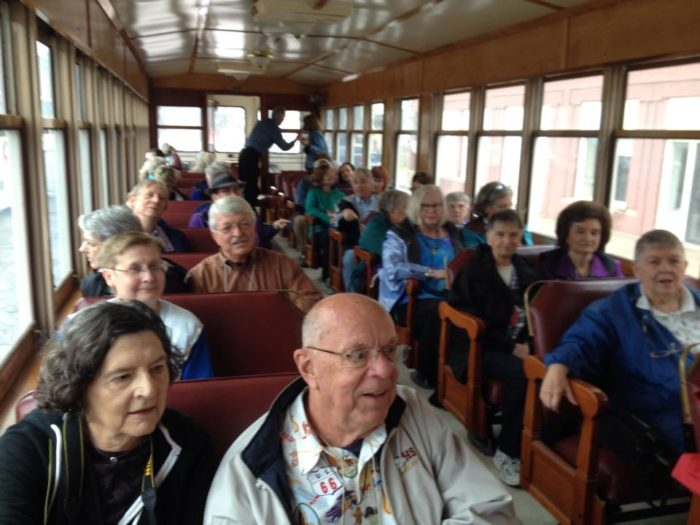 The trolley seats 48 people and is fully air conditioned and heated. It is also handicap-accessible.