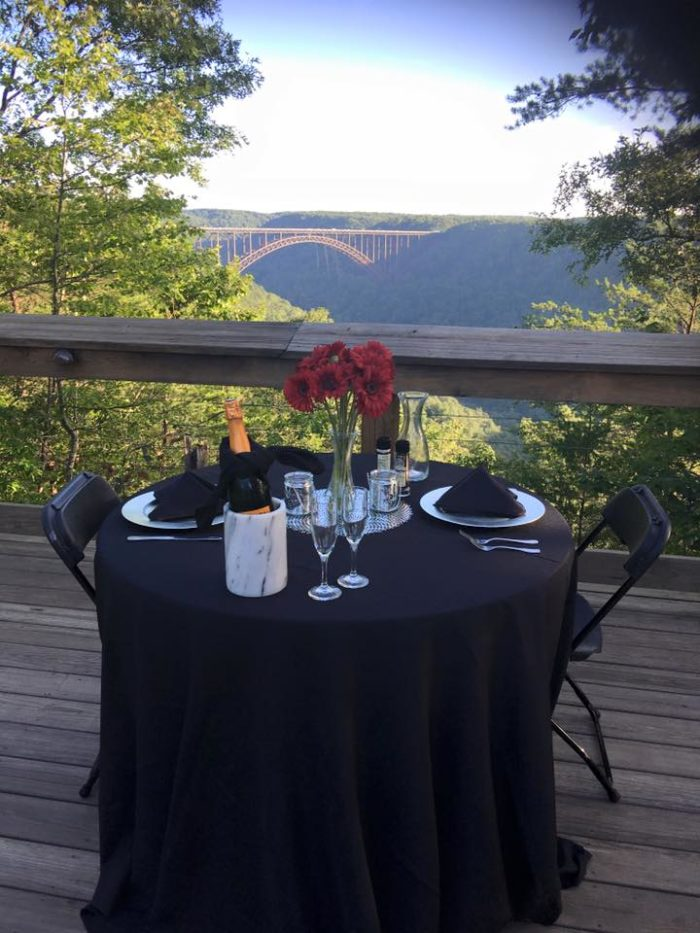 You get a beautiful view of the New River Gorge.
