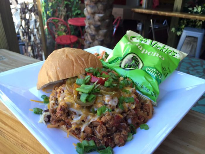 """The """"Sloppy Jose"""" is a sandwich stuffed with shaved house brisket and ground pork, Mexican veggies, cheddar jack cheese, cherry peppers and green onions."""