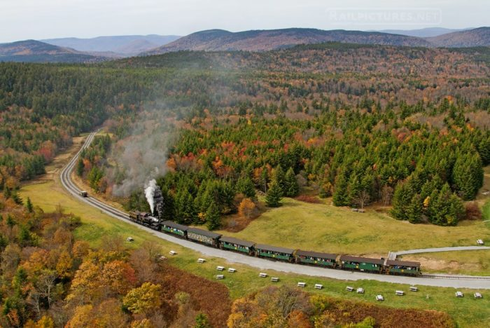 The train travels 11 miles up the mountain to the remote location of Bald Knob.