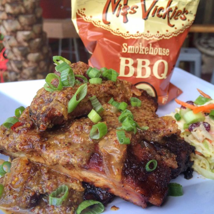 """Here are a few of the creative dishes you'll find at Yellow Dog Eats. """"The Don Knotts"""" is a 1/2 rack of ribs covered in an apple mustard honey onion sauce."""