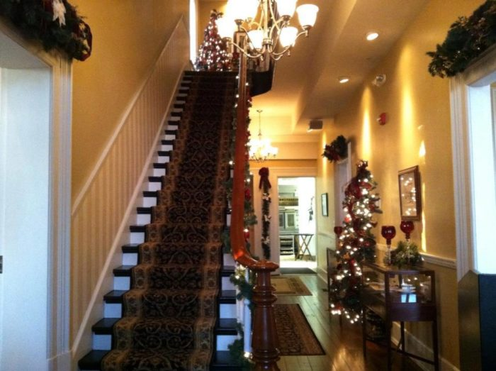 During the holiday season, the mansion is beautifully decorated, making it even more cozy for visitors.