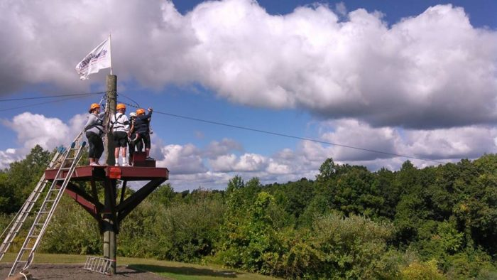 The fully guided half-mile sky trail journey is more than 40 feet high!