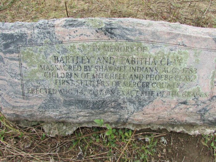 Two children of the Clay family were killed here and one was captured by the Indians.