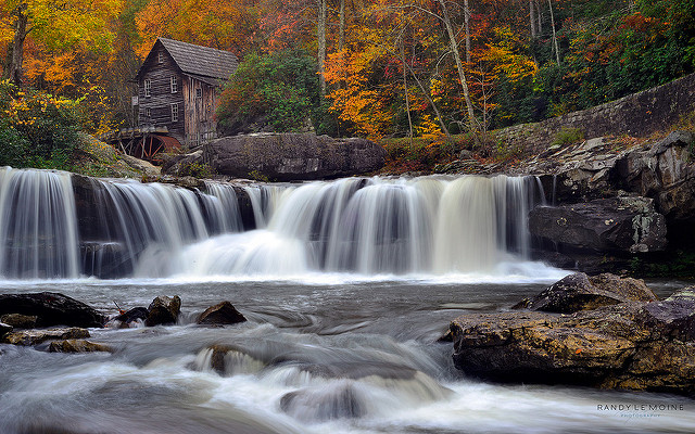 The rushing waterfall below the mill adds to the beauty of this place.