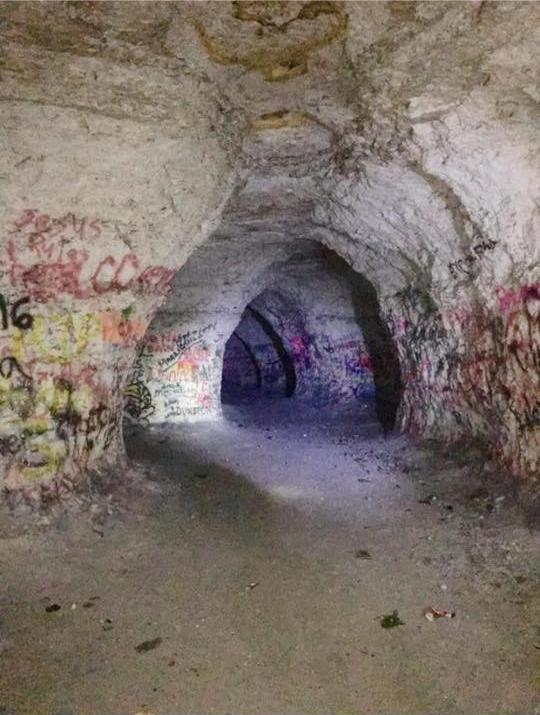 Referred to as Chalk Mine Hollow, the interior of the mine is about the size of a Walmart and includes three long tunnels, which are connected by numerous passageways.