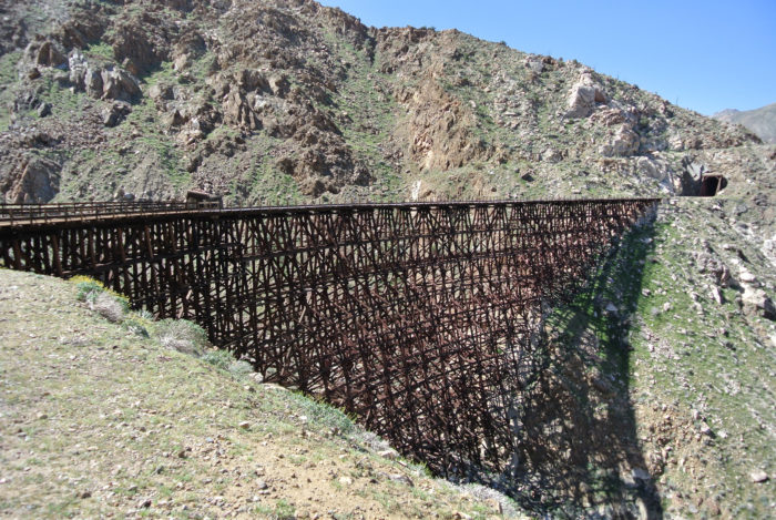 The Goat Canyon Trestle is one of the most magnificent abandoned structures in the region, and well worth a trek through the desert.