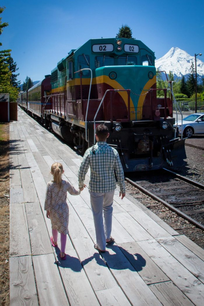 Your train ride will begin at the depot in the lovely town of Hood River.