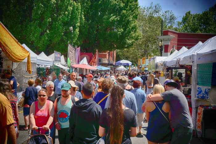 The Saturday Market is located on the SW Portland Waterfront at the base of the iconic Burnside Bridge.