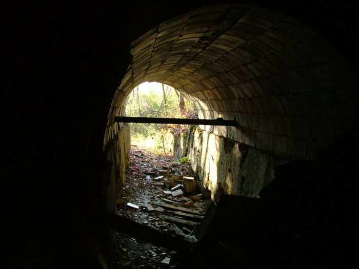 (Please note: The tunnel is best observed from afar, as it is a dangerous structure. We do not recommend venturing inside.)
